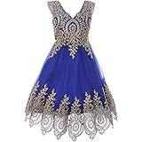 Big Girls Fabulous Sleeveless Gold Coiled Lace Mesh Tulle Skirt Flower Girl Dress Royal Blue - Size 12