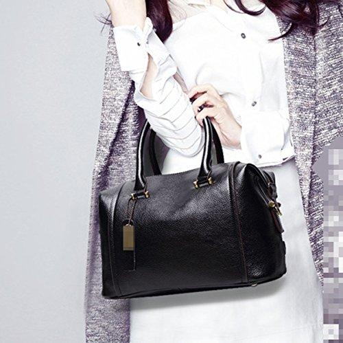 Moda De Mujer De Cuero Bolso De Hombro Bolsa De Mano Bolso Bolsa De Mango Superior Multicolor Black