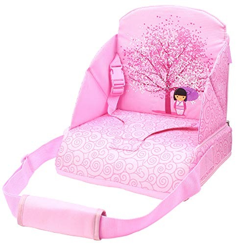 Abetto Baby Toddler Kids Infant Portable Booster Seat for Eating, Foldable/Washable/ Adjustable/Travel Dining Chair - Pink ()