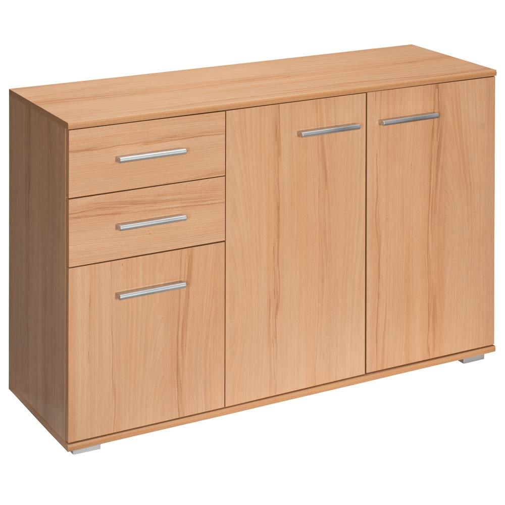 Deuba Kommode Sideboard Buche Alba mit 2 Schubladen & 3 Türen 107 x 75 x 35 cm Anrichte Beistellschrank Holz