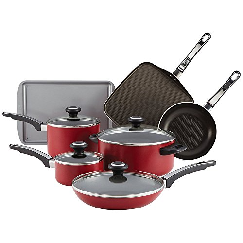 Farberware High Performance Aluminum Nonstick 12-Piece Cookware Set, Red