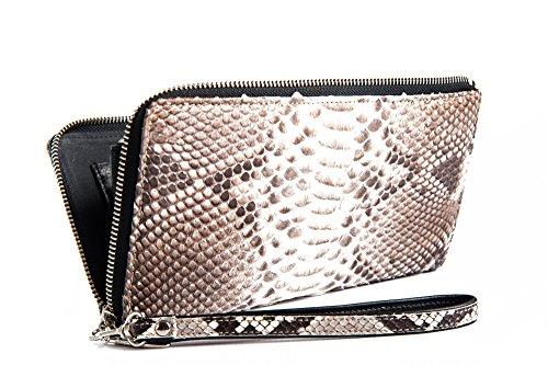 Agata - Passione Bags - Pochette, portafogli in vero pitone certificato CITES da donna color roccia - Animalier Made in Italy