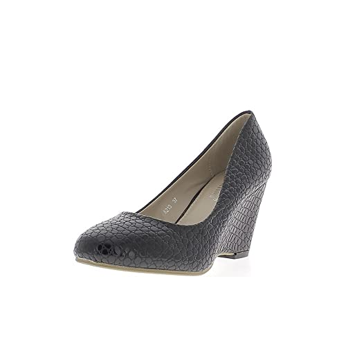 3c716e183a526c Escarpins compensés Femme Noirs Look Croco à Talons de 7,5cm - 40 ...