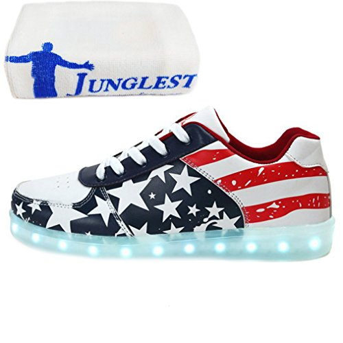 [Present:small towel]JUNGLEST® 7 Colors Stars Led Shoes Light Up For Adult Blue ip8a3Ou