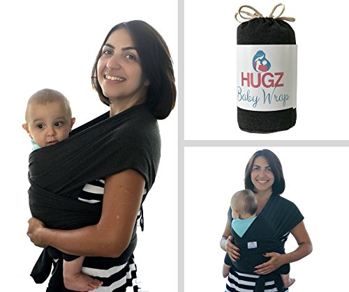 HUGZ Baby Wrap - Carrier Sling for Newborns Toddlers & Infants - Organic 95% Stretchy Soft and Comfortable Cotton Fabric - Portable Compact Breastfeeding Cover - Machine Washable - Lifetime Guarantee