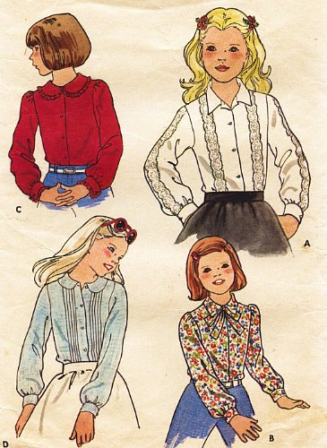 (Butterick 5689 Children's Blouse, Button Front Closure Sewing Pattern , Vintage)