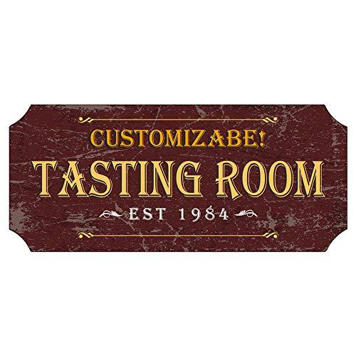 BarConic Customizable Wood Plaque Sign - Tasting Room - Burgundy