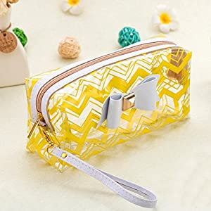 Iuhan Waterproof Bowknot Transparent Pro Makeup Brush Bag Cosmetic Tool Brush Multifunctional Organizer Holder Pouch Pocket Toiletry Kit (A, Yellow)