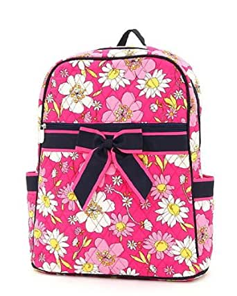 Belvah Medium Quilted Floral Print Backpack Purse (Fuchsia/Navy)