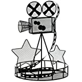 TCDesignerProducts Black Wire Movie Camera Centerpiece Set with Tea Lights, 12 Inches High, Table Decoration, Set of 2