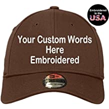 UNAMEIT Custom Embroidered New Era 39Thirty Cap. Your Own Text. Curved Bill