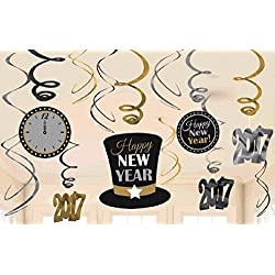 Amscan 2017 Value Pack Foil Swirl Decorations in Black, Silver & Gold - 1 pack