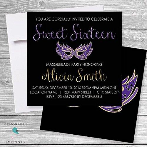 Amazon Set Of 10 Masquerade Sweet 16 Invitation Sixteen
