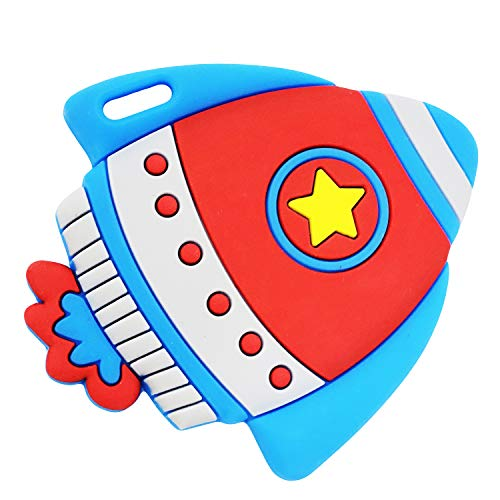 Silli Chews Best Baby Teether Space Rocket Ship Toddler Silicone Teething Toy Infant Pain Relief Red White and Blue Kids Chew Toy