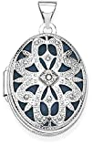 ICE CARATS 14k White Gold 21mm Oval Diamond Vintage Photo Pendant Charm Locket Chain Necklace That Holds Pictures Fine Jewelry Gift Set For Women Heart