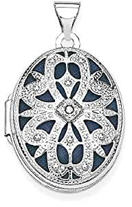 IceCarats 14k White Gold 21mm Oval Diamond Vintage Locket Necklace That Holds Pictures