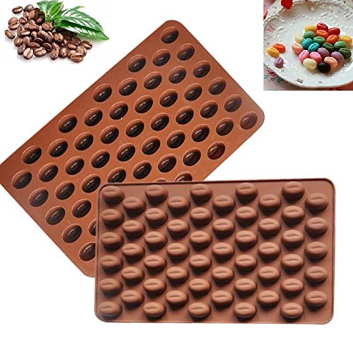 [2-55 Cavity (110 Total ) Coffee beans chocolate mold, DIY Candy, Gelatin Maker, Cake Décor, Halloween Gummi Chocolate by Palker] (Diy Halloween Decor)