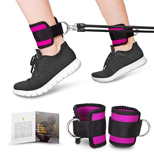 JBM Ankle Straps (3colors) Double D-Ring Adjustable Ankle Cuff Strap for Gym Cable Machine Workouts with