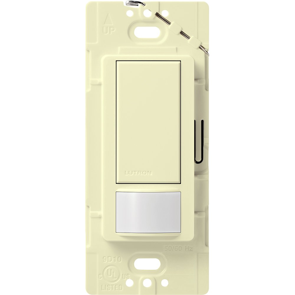 Lutron Maestro Motion Sensor switch, no neutral required, 250 Watts Single-Pole, MS-OPS2-AL, Almond