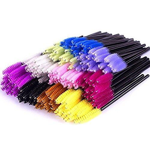 500PCS Multicolor Disposable Mascara Wands Applicators Brushes Eyelash Eyebrow Brushes Cosmetic Brush Makeup Tool Kit, 10 colors Erlvery DaMain