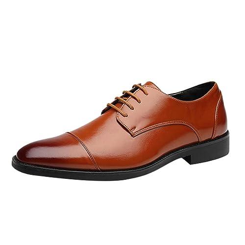 Liangzhu Moda Zapatos de Traje para Hombre Punta Atan para ...