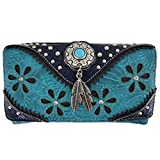 Western Leather Wallet Rhinestone Clutch Bag Cute Crossbody Bags Coin Purse (Turquoise)