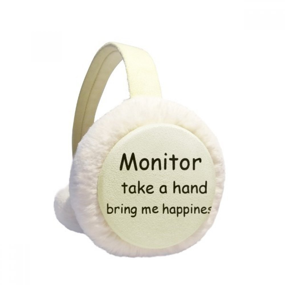 Monitor Take A Hand Bring Me Happiness Winter Earmuffs Ear Warmers Faux Fur Foldable Plush Outdoor Gift
