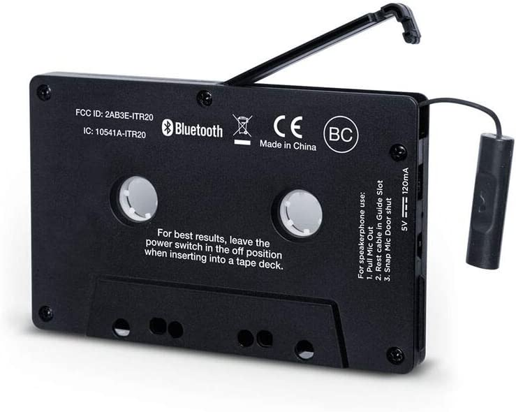 NEW Ion Audio Cassette Bluetooth Adapter Music Receiver Black Compatible With Cassette Deck