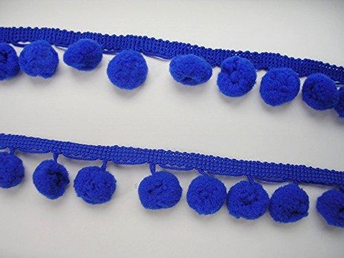 Royal Blue Pom Pom Fringe Trim Pompom Ball Sew on Braid Woven Embellishments DIY Craft Supply 2 (Sew Pillow Trim)