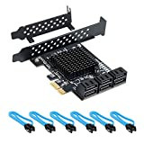 QNINE PCIe SATA Card 6 Port, PCIe SATA Controller Expression Card with Low Profile Bracket, Boot as System Disk, Support 6 SATA 3.0 Devices