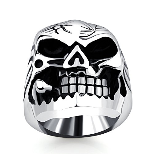 Vintage Cigar Skull Stainless Steel Ring for Women Cool Men Titanium Gothic Bands Size 10 Halloween - Co Sell On Amazon Uk