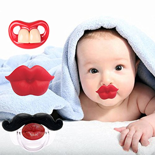 3Pcs Cute Novelty Kissable Lip Pacifiers for Newborn Infant Toddlers, Funny Teeth and Mustaches - Great Baby Shower Gift for Small Boys Or Girls! BAOCHEN