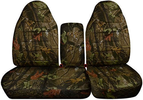 Designcovers 1997-2000 Ford F-150 Camo Truck Seat Covers (Front 40/60 Split Bench) Opening Center Console/Solid Armrest: Brown Real Tree Camouflage...