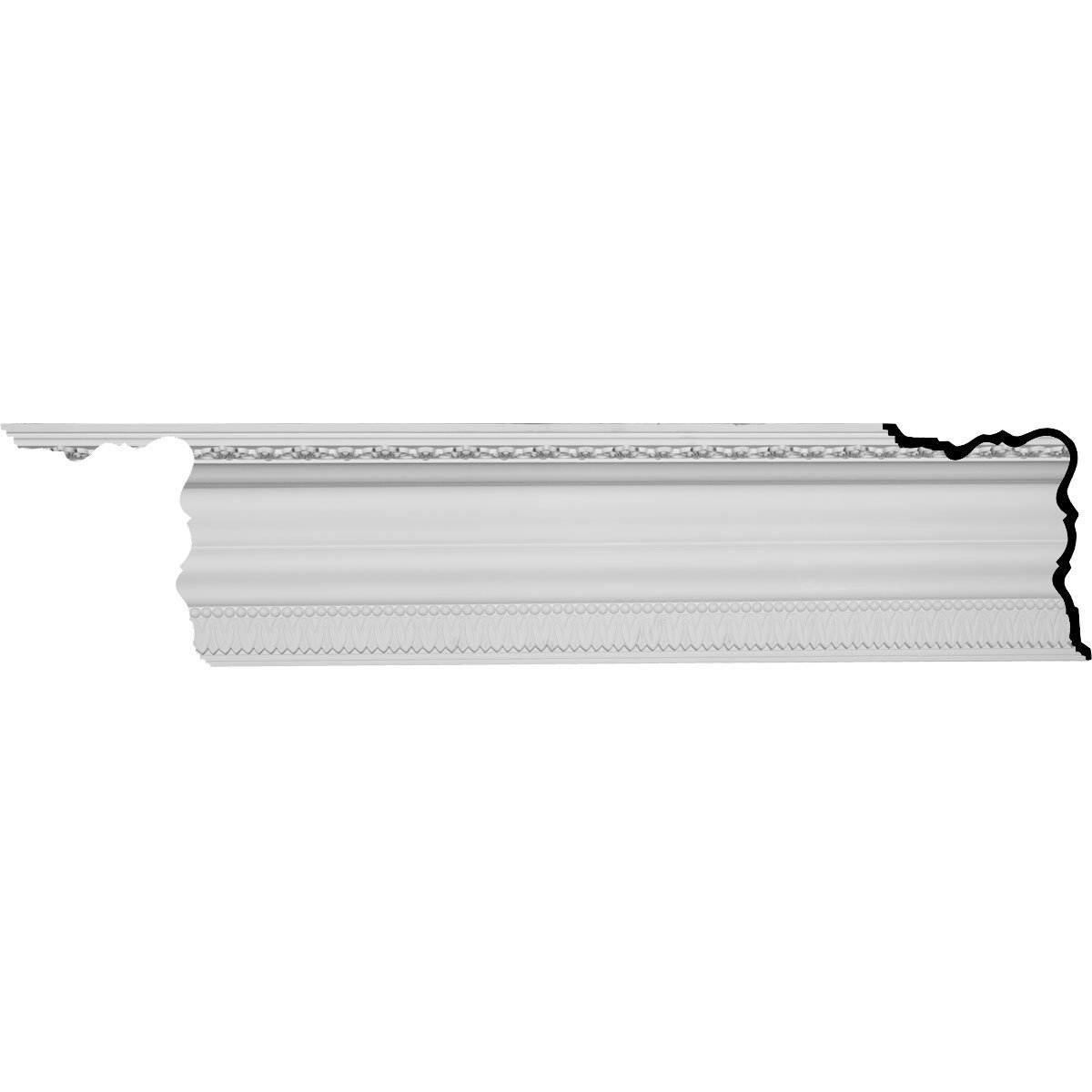 Ekena Millwork MLD11X15X18CG-CASE-8 11-5/8'' H x 15-3/8'' P x 18-3/4'' F x 96-1/8'' L Coogan Crown Molding with 2'' Repeat (8-Pack)