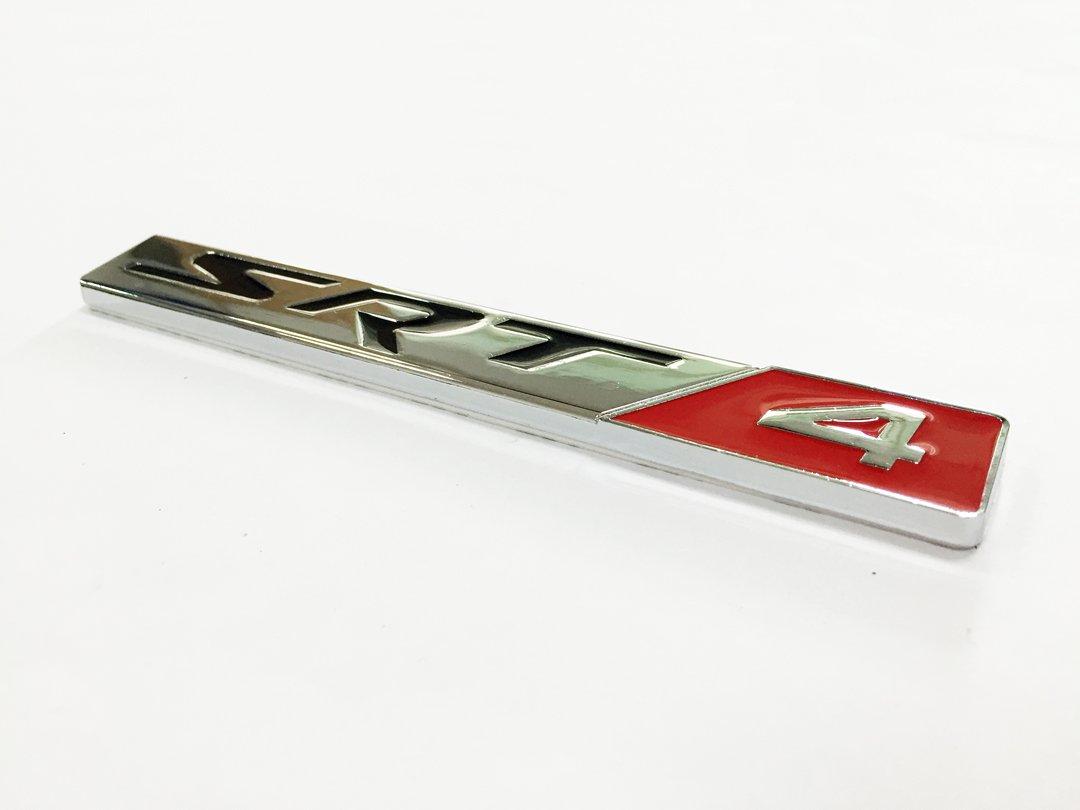 SRT 4 Metal Silver Red Sticker Vehicle-logo Badge Car Emblem for Dodge Available Dian Bin