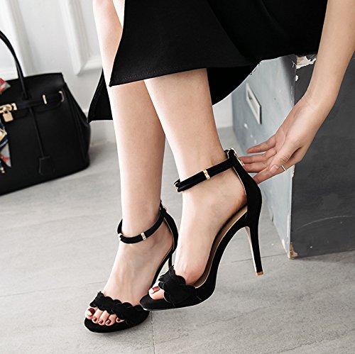 Ladies size Ankle Shoes Platform Womens High Peep Stiletto Black Heel Strap Sandals Toe UxwgqaIPnS