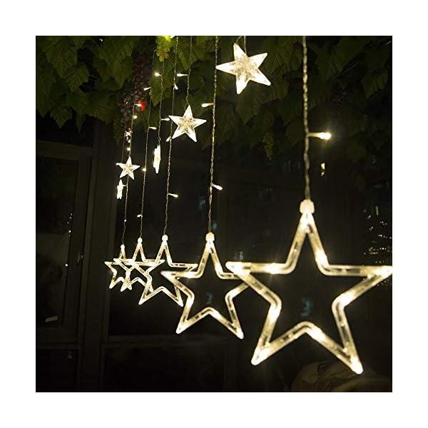 SALCAR luci colorate di Natale del LED 2 * 1 metro 12 stelle colorate illuminano tenda per le feste di Natale, Decorare, Party, 8 programmi scelta di colori (bianco caldo) 1 spesavip