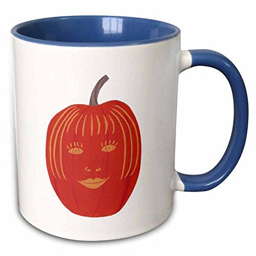 3dRose CherylsArt Holidays Halloween - Painting of a carved female face on a Halloween pumpkin - 15oz Two-Tone Blue Mug (mug_165766_11) -