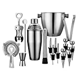 Professional Wine and Cocktail Mixing Bar Set by QLL, Large 25 oz. Stainless Steel Shaker, Ice Bucket, Muddler, Double Sided Jigger, 4 Liquor Bottle Pourers, Hawthorne Strainer, Conical Strainer For Sale