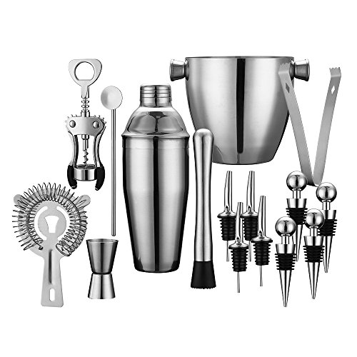 Professional Wine and Cocktail Mixing Bar Set by QLL, Large 25 oz. Stainless Steel Shaker, Ice Bucket, Muddler, Double Sided Jigger, 4 Liquor Bottle Pourers, Hawthorne Strainer, Conical Strainer