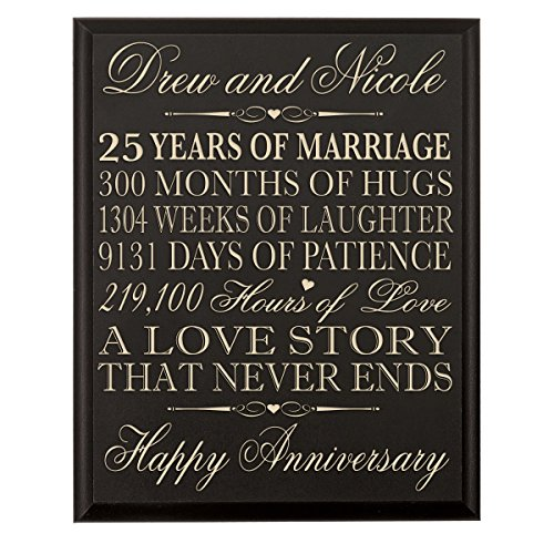 Personalized 25th Wedding Anniversary Wall Plaque Gifts for Couple,Custom Made 25th Anniversary Gifts for Her,25th Wedding Anniversary Gifts for Him Wall Plaque By LifeSong Milestones (Black)