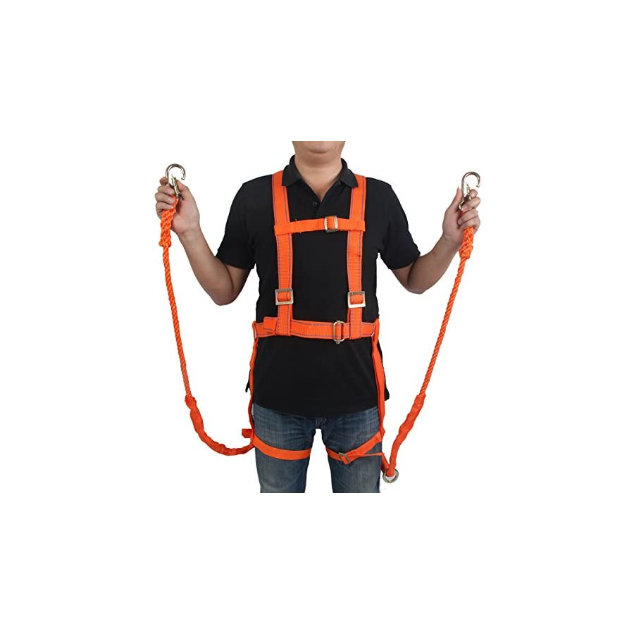 "3 JOKERS Full Body Safety Harness with 78.74"" Two Safety Rope and Carabiner Climbing Rappelling Equip"