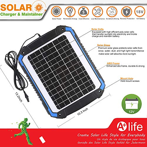 SUNER POWER 12V Solar Car Battery Charger & Maintainer - Portable 14W Solar Panel Trickle Charging Kit for Automotive, Motorcycle, Boat, Marine, RV, Trailer, Powersports, Snowmobile, etc. by SUNER POWER (Image #1)