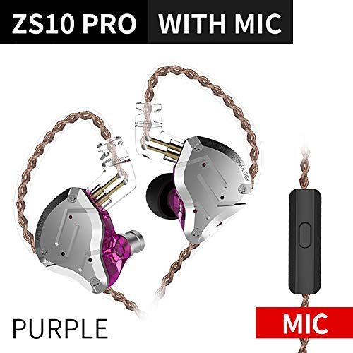 Shentesel Wired Gaming Earphones Double Dynamic Unit in-Ear Stereo Sound - Purple with Mic