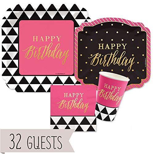 Big Dot of Happiness Chic Happy Birthday - Pink, Black with Gold Foil - Party Tableware Plates, Cups, Napkins - Bundle for 32