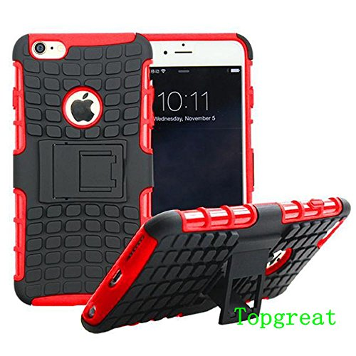 iphone 6 plus Case,iphone 6s plus Case,TopGreat/TPU+PC/Fashion/Non Slip/anti-stain/drop Resistant/slim Lightweight Shockproof Dual Hybrid Layer Cover Case with Kickstand/Gifts/5.5 Inch/(Red)