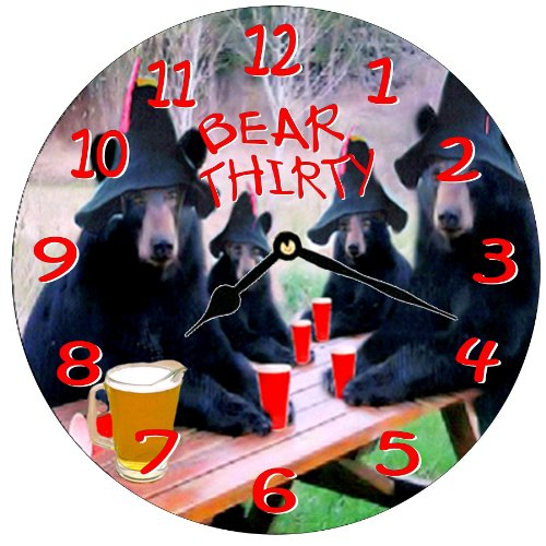 Bear Thirty Black Bear Funny Beer Wall Clock -