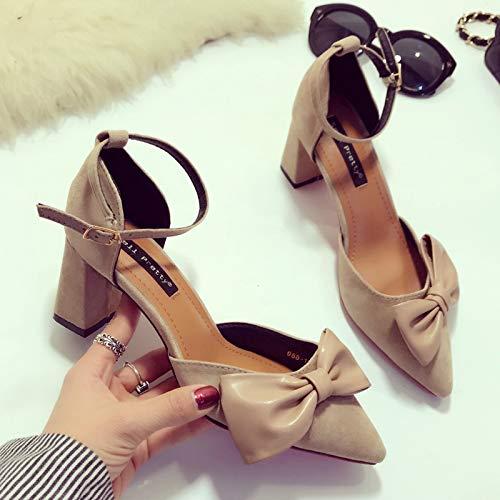 Yukun zapatos de tacón alto Las Señoras del Otoño Temperamento Zapatos De Tacón Alto De Las Mujeres Arco Señaló Una Palabra Hebilla De Espesor con Zapatos Individuales Apricot