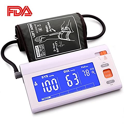 Automatic Upper Arm Blood Pressure Monitor Machine Adjustable Large Cuff, LCD Screen Blue Backlit, FDA Approved Highly Accurate Digital BP Cuff, 120 Groups Memory A/B User Switch Travel Bag - Automatic Arm