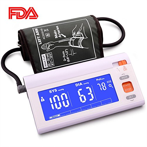 Automatic Upper Arm Blood Pressure Monitor Machine Adjustable Large Cuff, LCD Screen Blue Backlit, FDA Approved Highly Accurate Digital BP Cuff, 120 Groups Memory A/B User Switch Travel Bag (Included) by JinHam